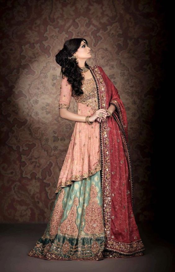 Tail Frock with Lehnga Bridal Dress Design